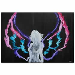 Urban Angel - Contemporary Fantasy Angel Art with Colorful Rainbow Wings, Modern Silhouetted Female Nude Painting Decor