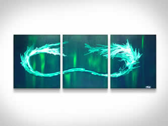 Green Tidal Wave  - Original Canvas Art