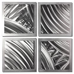 Silver Divisions 25x25in. Natural Aluminum Abstract Decor