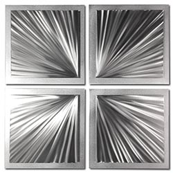 Silver Speed 25x25in. Natural Aluminum Abstract Decor