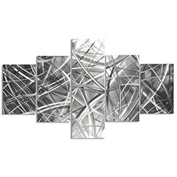 Columnar Fibers 64x36in. Natural Aluminum Abstract Decor