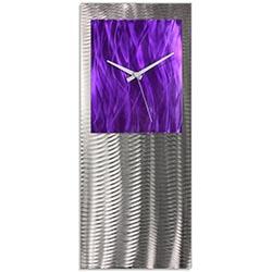 Metal Art Studio Abstract Decor Purple Studio Clock 10in x 24in