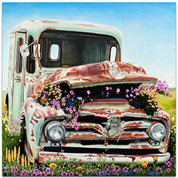 Americana Wall Art Got Flowers - Classic Cars Decor on Metal or Plexiglass