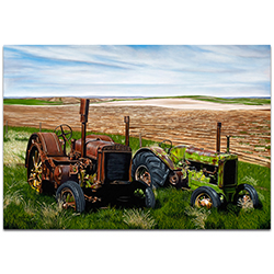 Americana Wall Art Two John Boys - Classic Tractor Decor on Metal or Plexiglass