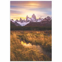 Fitz Roy at Golden Hour by Dianne Mao - Landscape Art on Metal or Acrylic