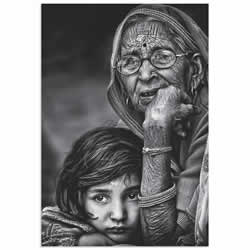 Grandmother by Piet Flour - Hindu Family Art on Metal or Acrylic