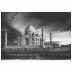 Taj Mahal in Black and White by Piet Flour - Taj Mahal Image on Metal or Acrylic
