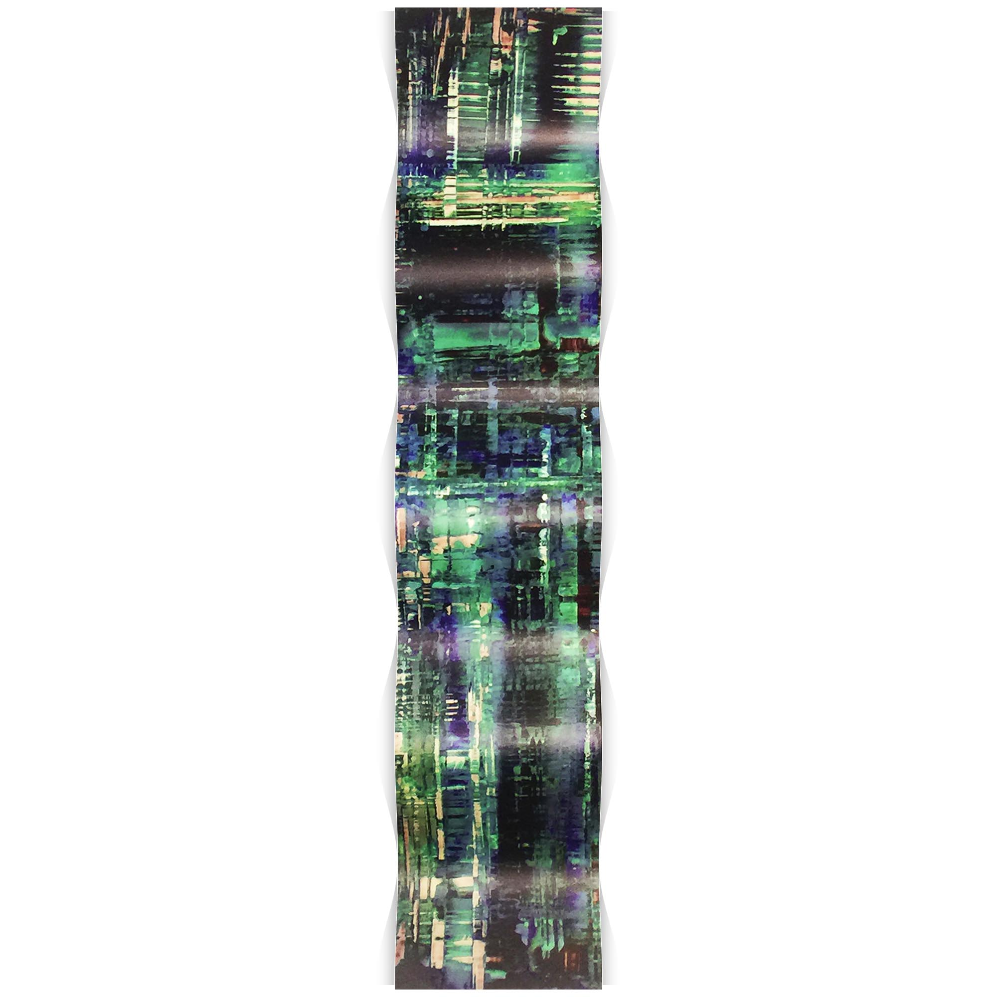 Aporia Blue Wave 9.5x44in. Metal Eclectic Decor - Image 2
