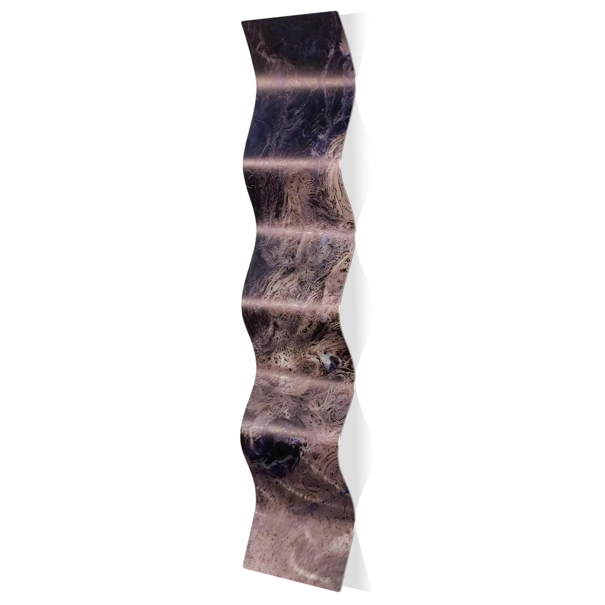 Storm Blue Wave 9.5x44in. Metal Eclectic Decor