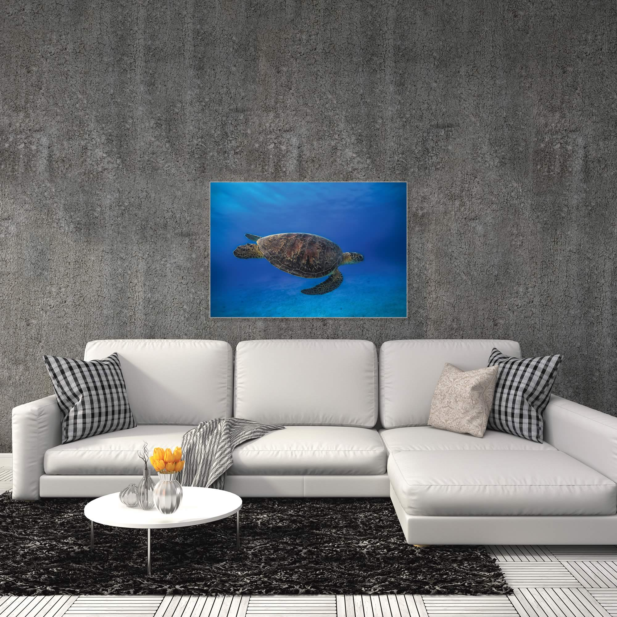Green Turtle in the Blue by Barathieu Gabriel - Sea Turtle Art on Metal or Acrylic - Alternate View 3