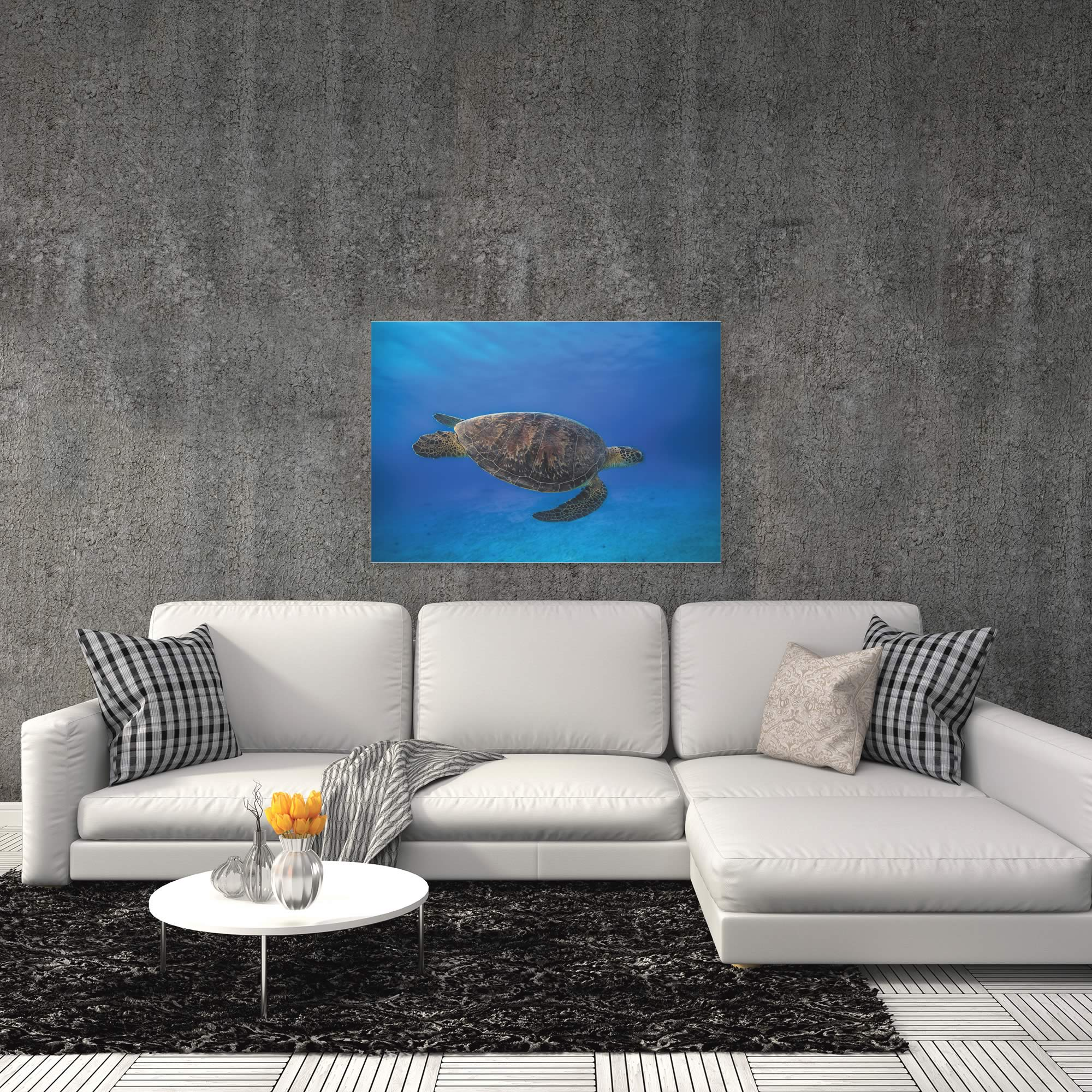 Green Turtle in the Blue by Barathieu Gabriel - Sea Turtle Art on Metal or Acrylic - Alternate View 1