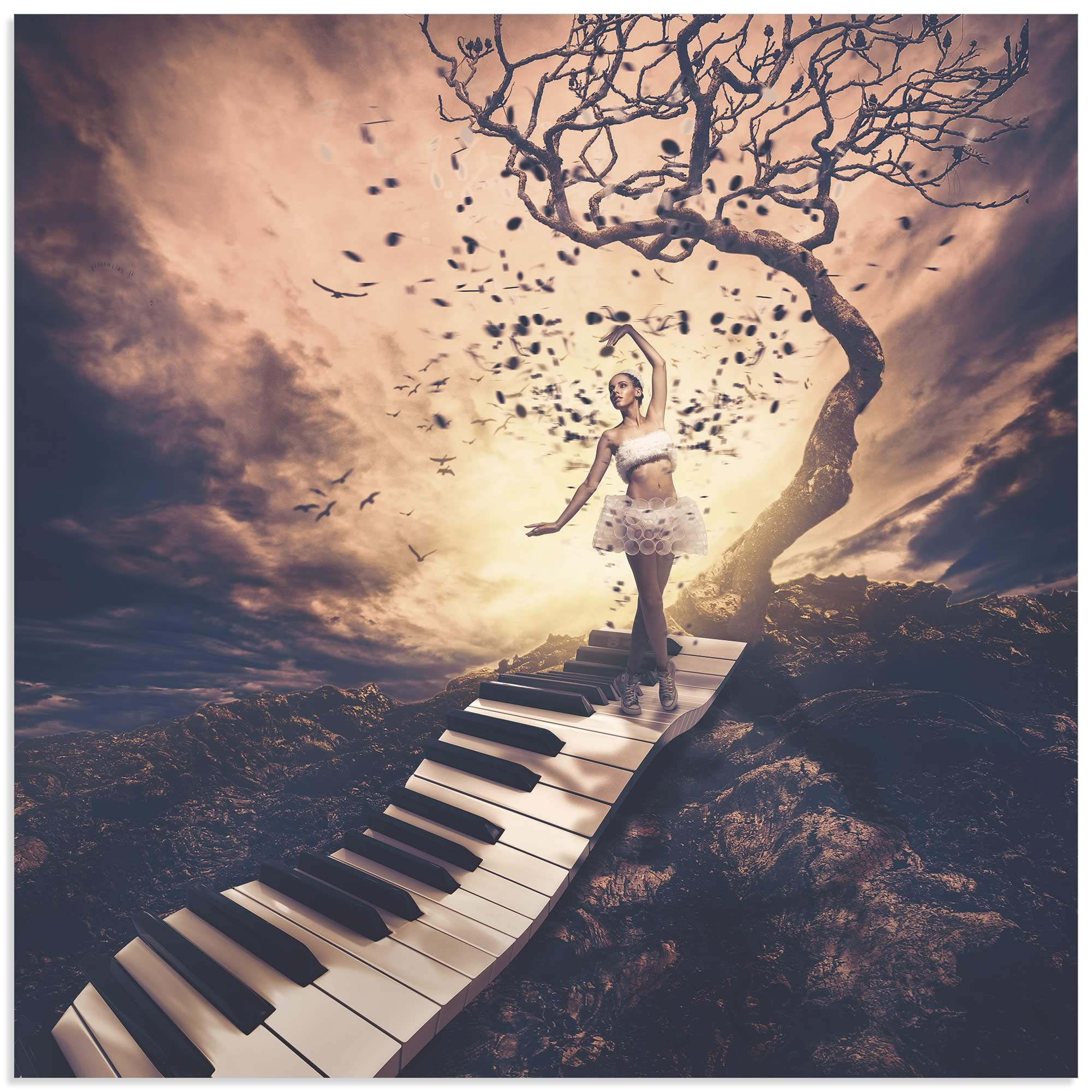 music rhapsody piano carvalho jackson surrealism fantasy artwork metal acrylic landscape keyboard artist studio ballerina moderncrowd