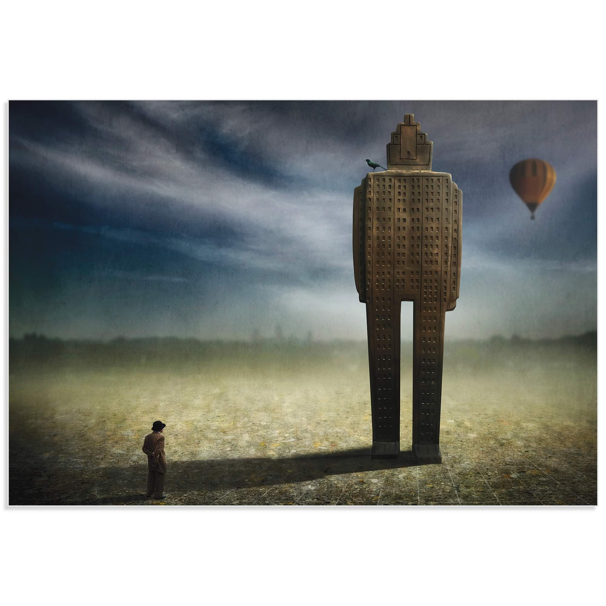 Big Town Exodus by Ben Goossens - Surreal Cityscape Art on Metal or Acrylic - Alternate View 2