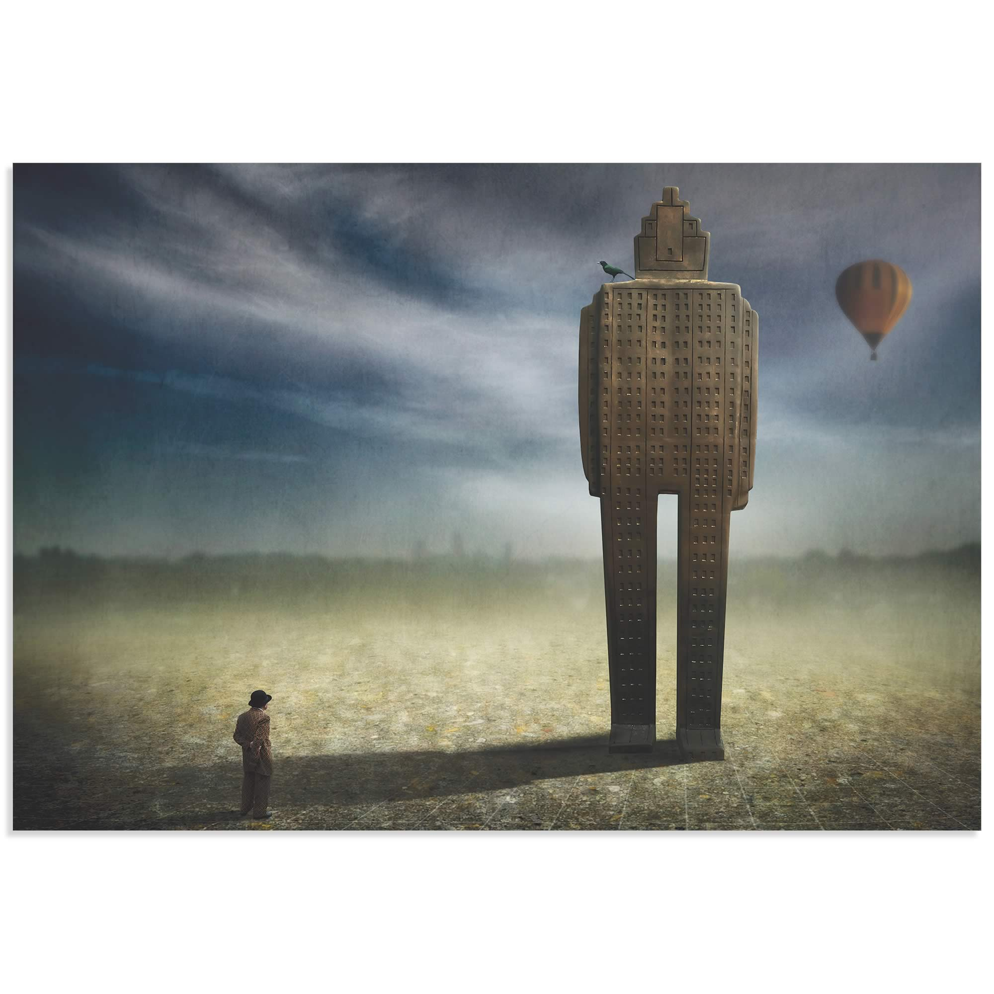 Big Town Exodus by Ben Goossens - Surreal Cityscape Art on Metal or Acrylic