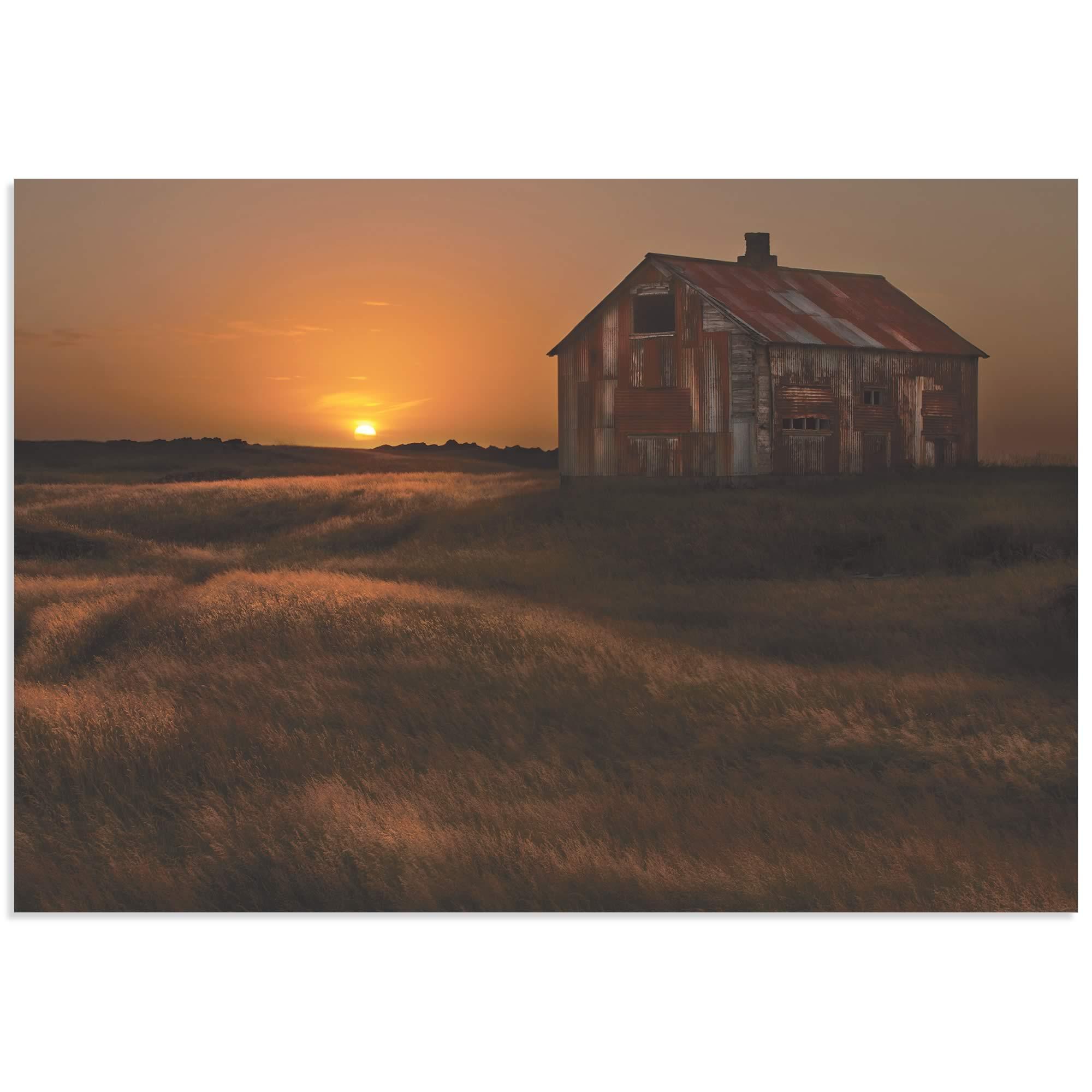 September Barn by Bragi Ingibergsson - Rustic Decor on Metal or Acrylic