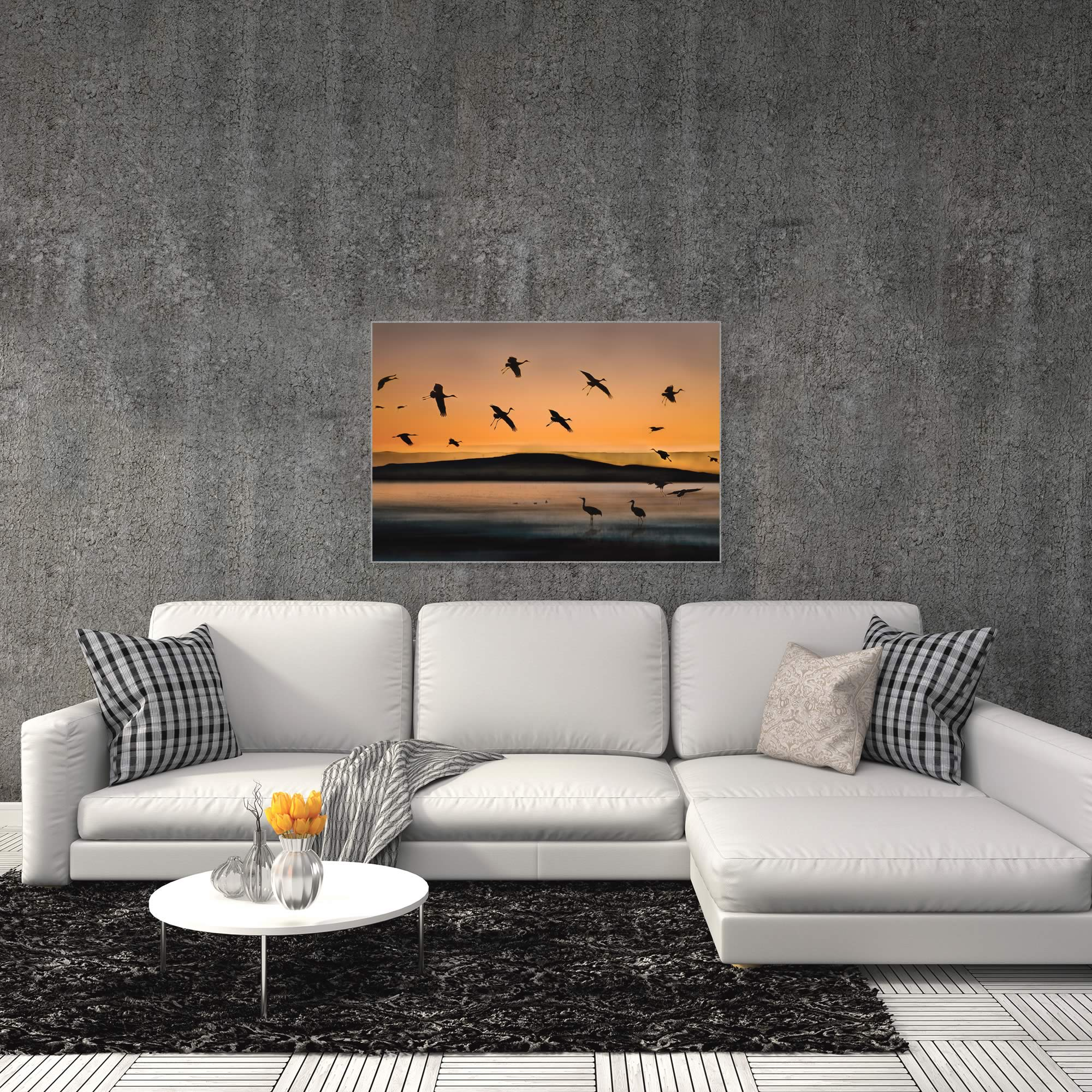Cranes at Sunset by Shenshen Dou - Bird Silhouette Art on Metal or Acrylic - Alternate View 3