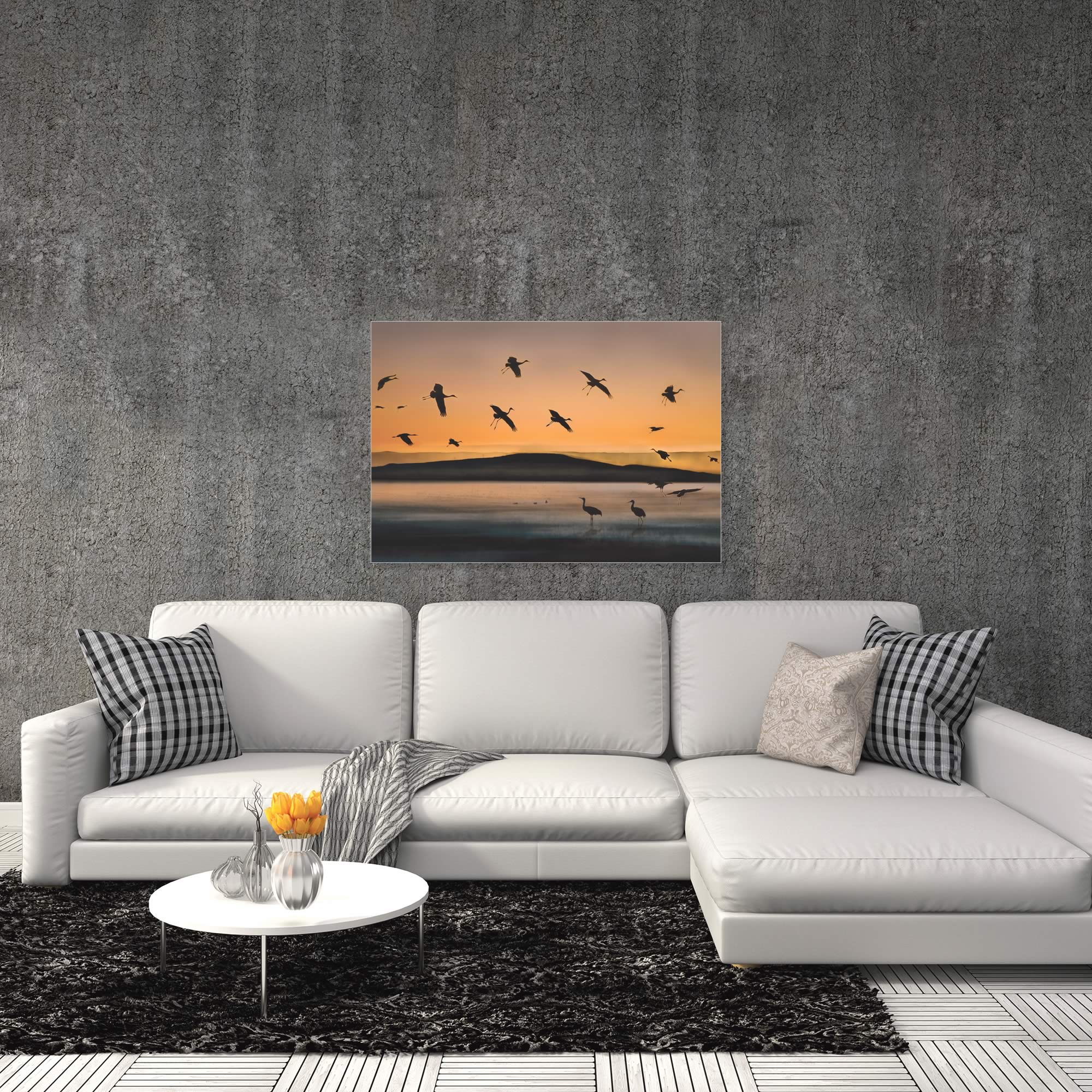 Cranes at Sunset by Shenshen Dou - Bird Silhouette Art on Metal or Acrylic - Alternate View 1