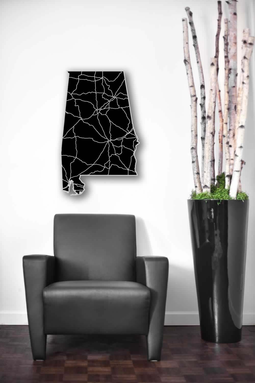 Alabama - Acrylic Cutout State Map - Black/Grey USA States Acrylic Art - Lifestyle Image