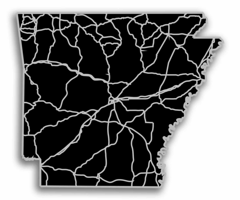 Arkansas - Acrylic Cutout State Map - Black/Grey USA States Acrylic Art