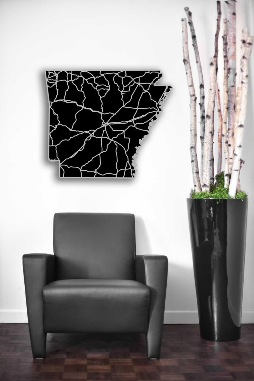 Arkansas - Acrylic Cutout State Map - Black/Grey USA States Acrylic Art - Lifestyle Image