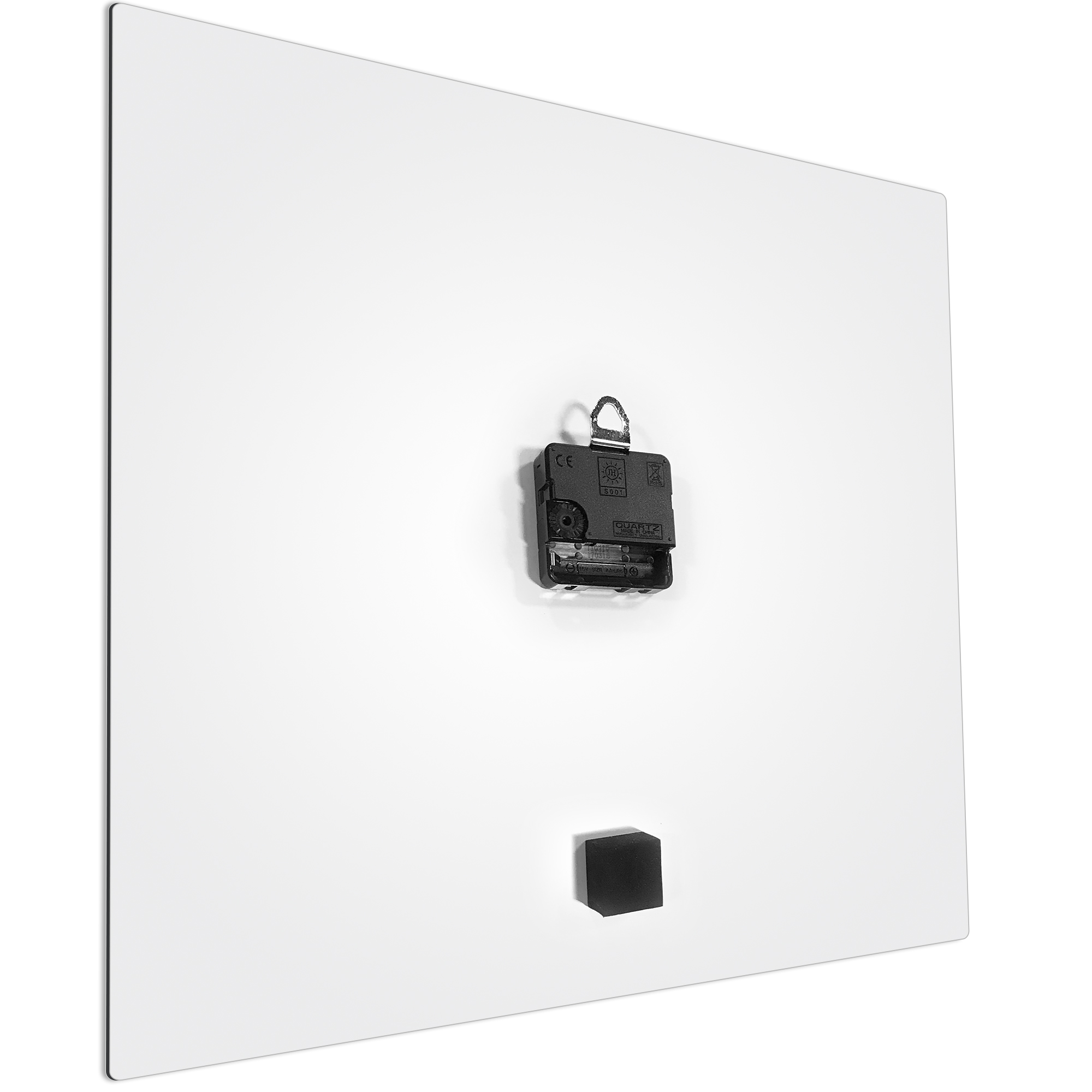 Greenout White Square Clock Large by Adam Schwoeppe Contemporary Clock on Aluminum Polymetal - Alternate View 3