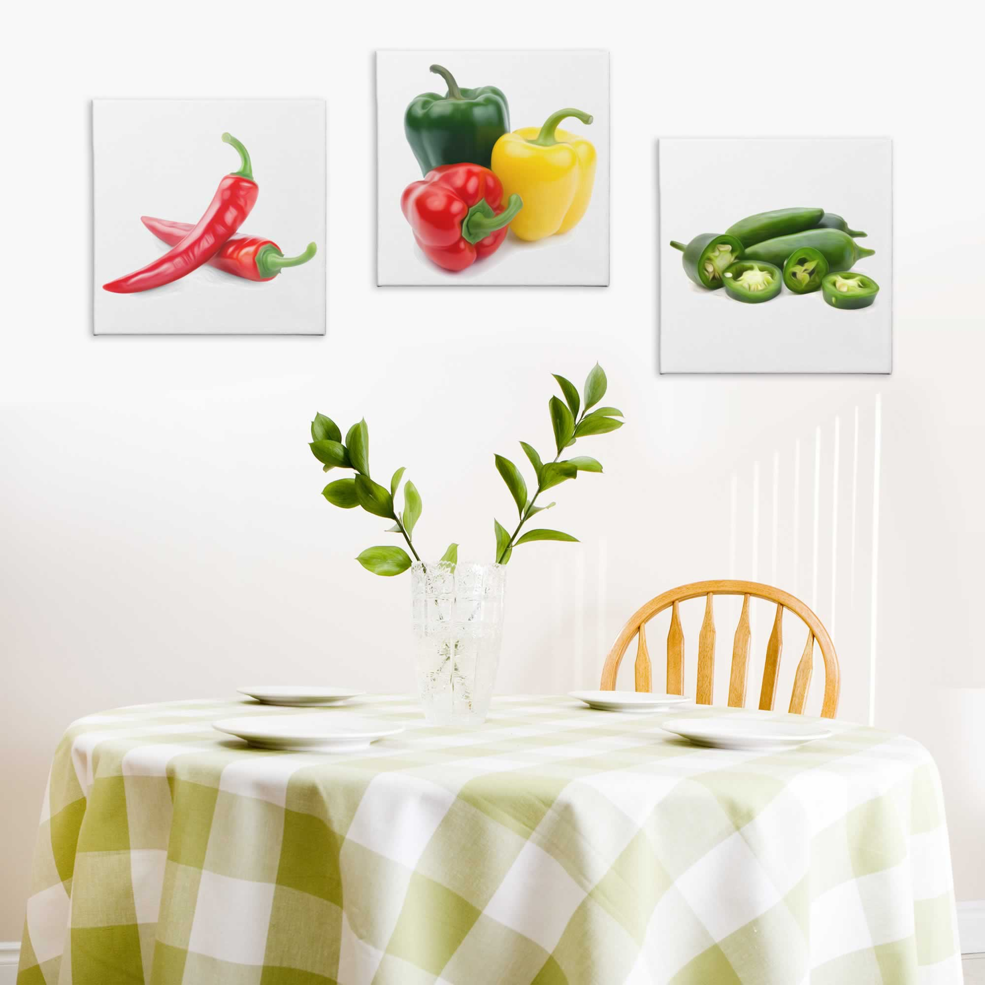 Peppers - Contemporary giclee Painting Print on Canvas - Lifestyle Image