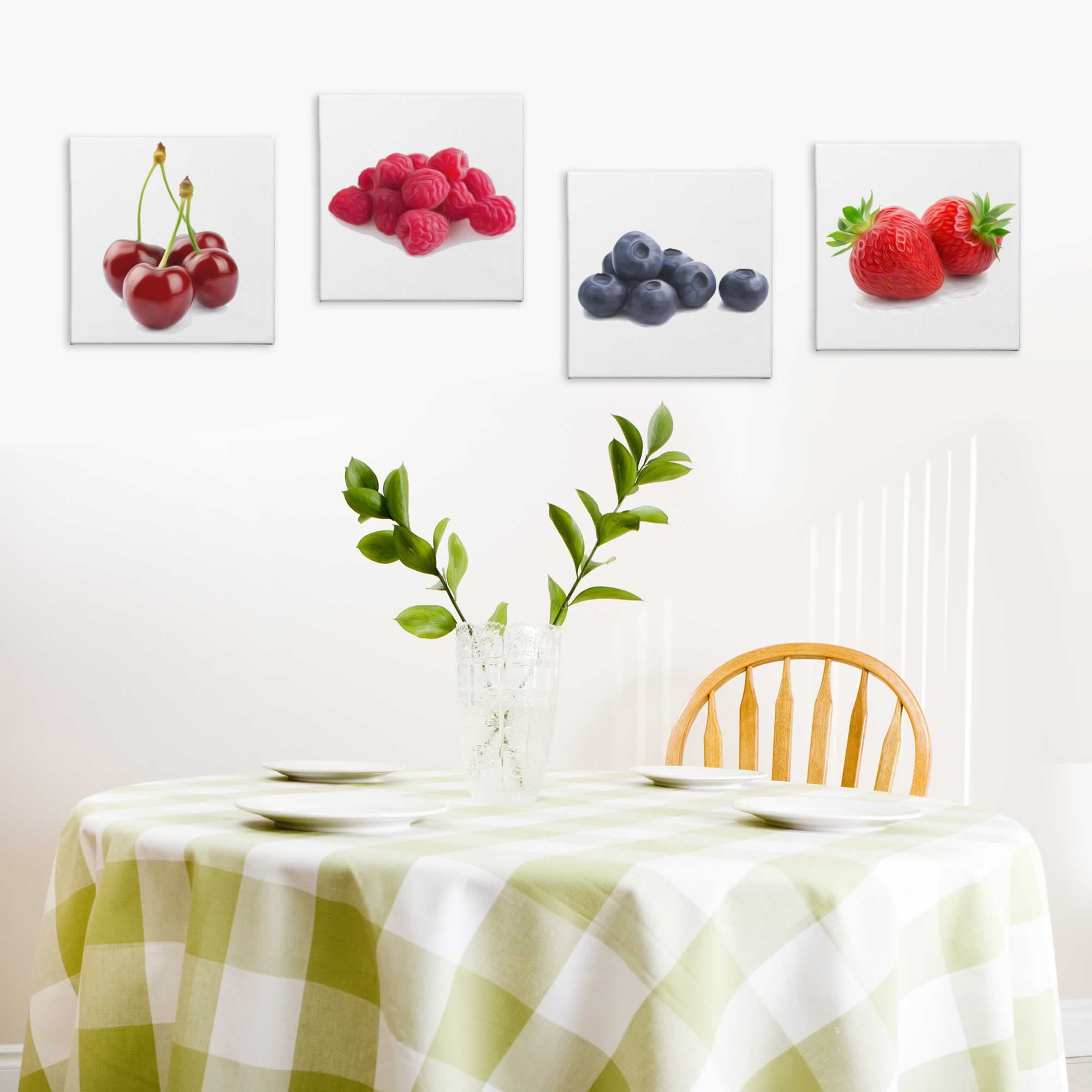 Tasty Berries - Contemporary giclee Painting Print on Canvas - Lifestyle Image