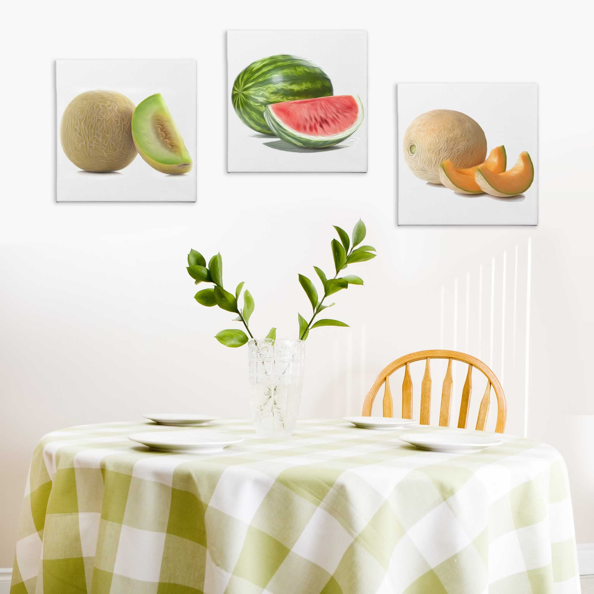 Sliced Melons - Contemporary giclee Painting Print on Canvas - Lifestyle Image