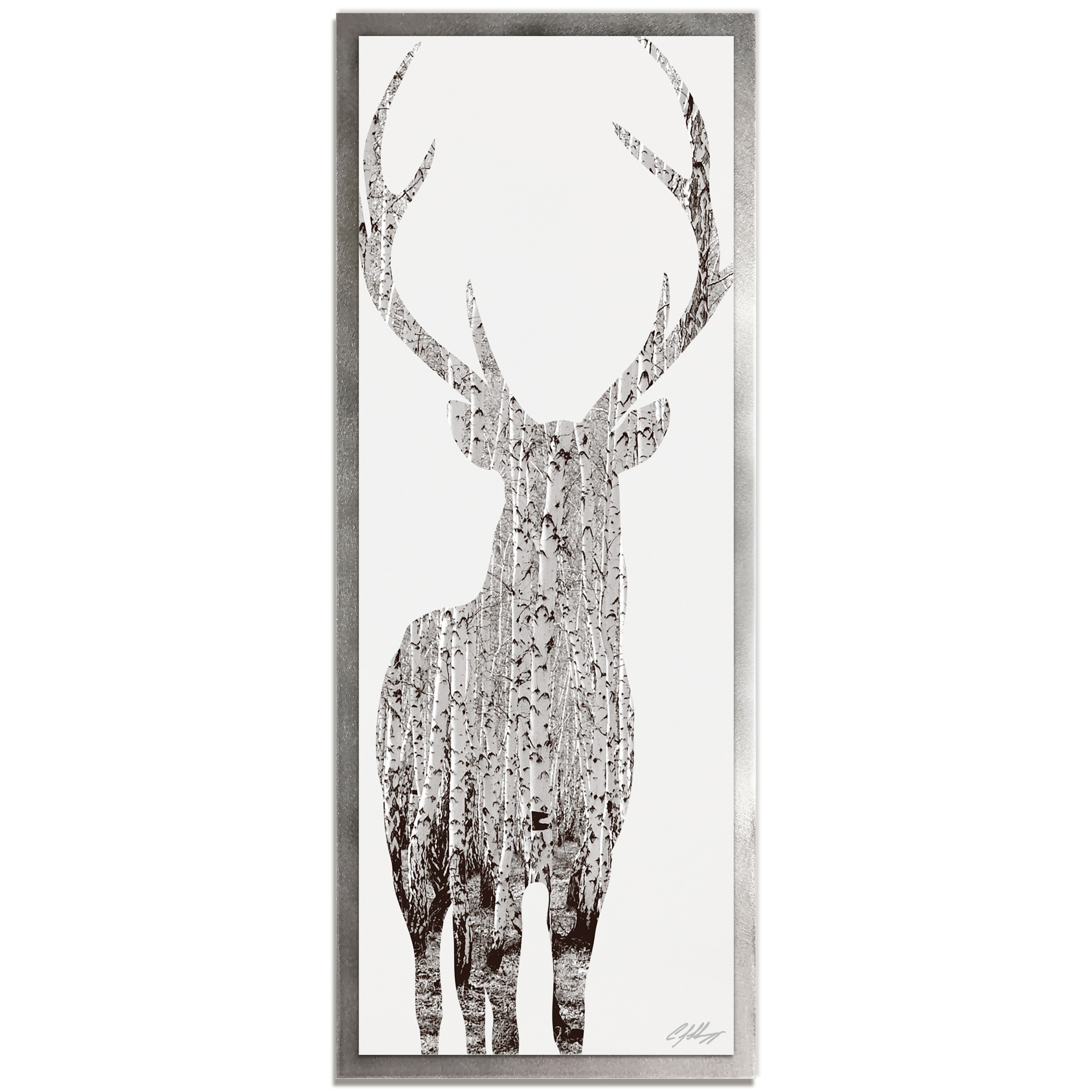 Adam Schwoeppe 'Birch Deer Framed' 19in x 48in Contemporary Animal Silhouette Art on Colored Metal