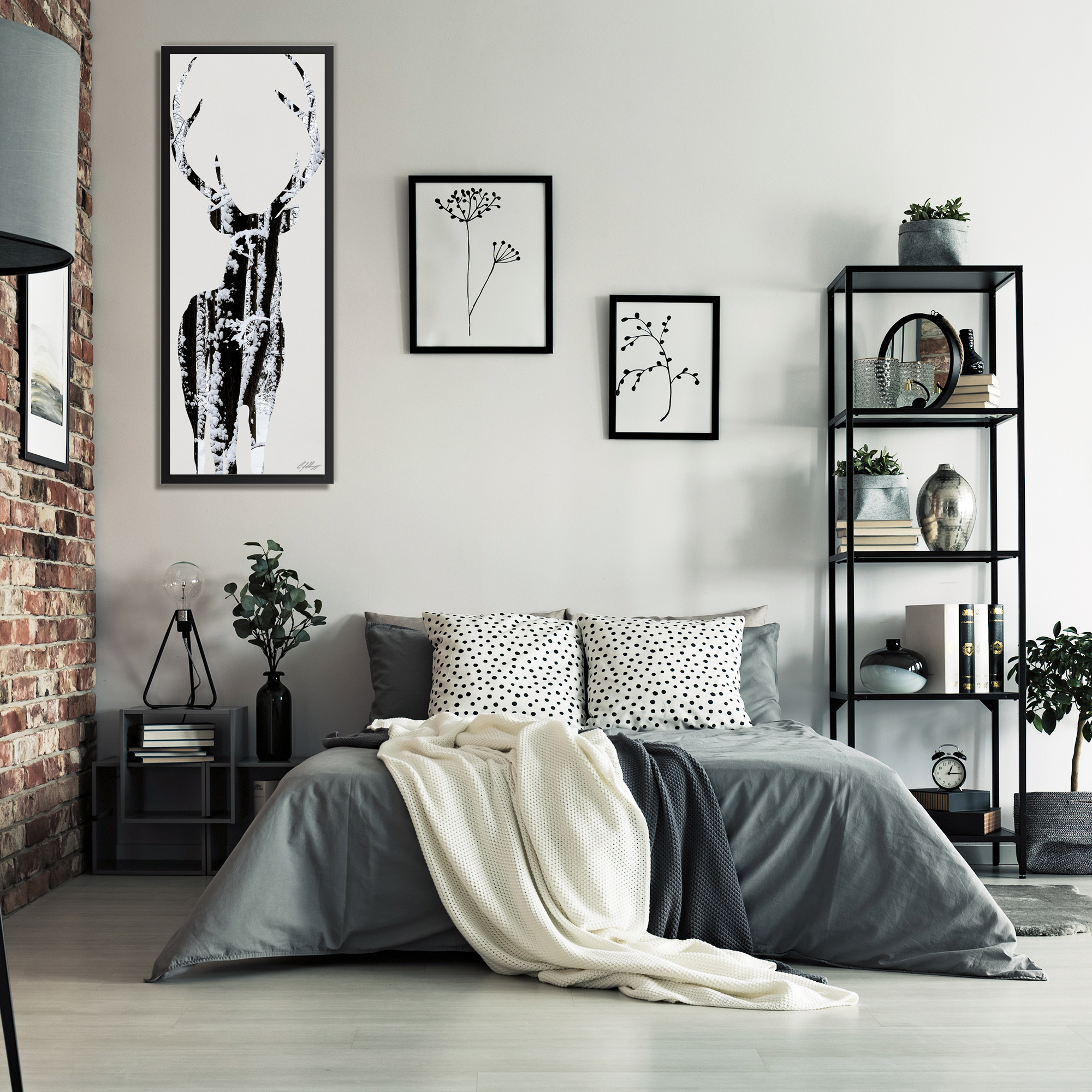 Snow Deer Framed - Lifestyle View