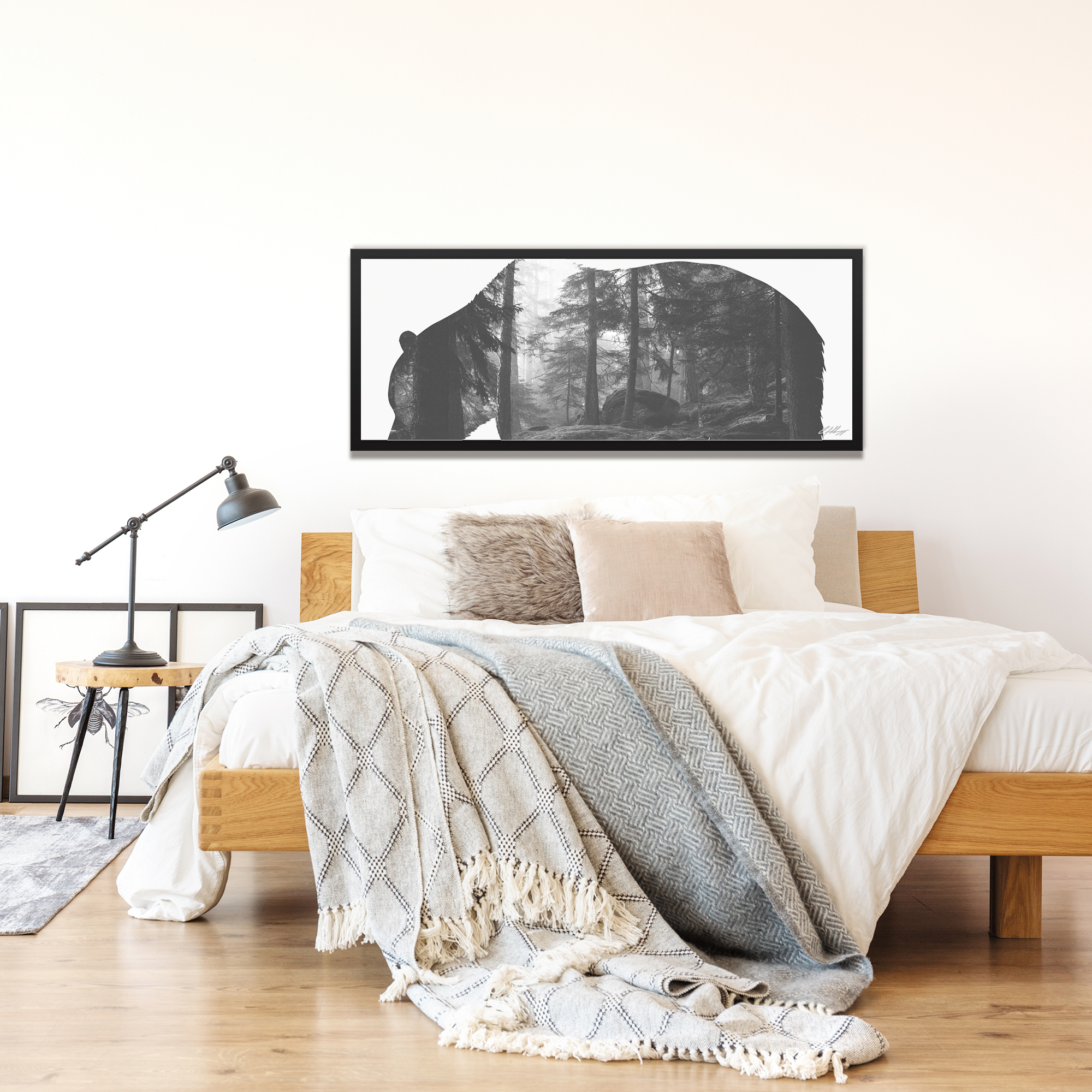Grizzly Bear Forest Framed - Lifestyle View
