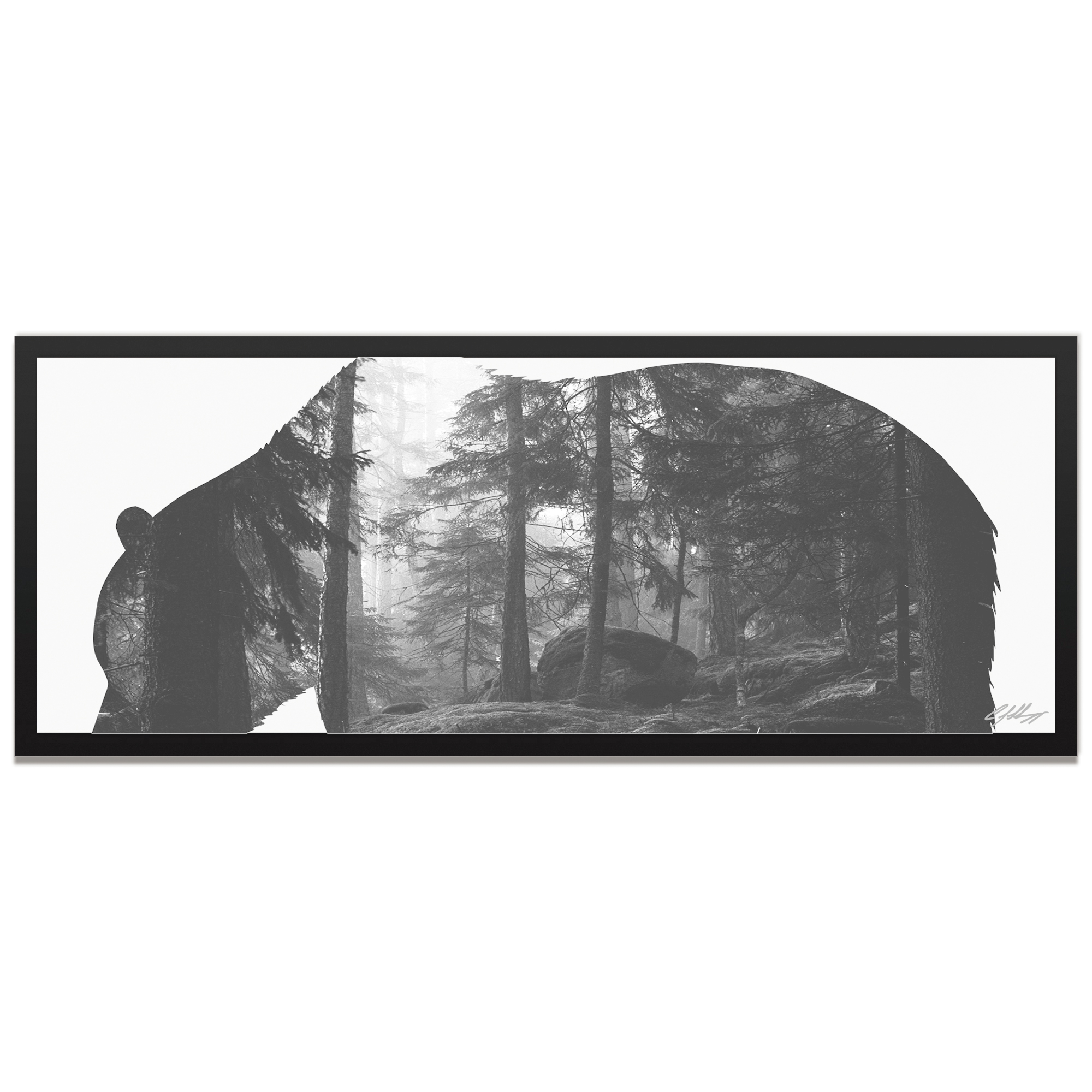 Adam Schwoeppe 'Grizzly Bear Forest Framed' 48in x 19in Contemporary Animal Silhouette Art on Colored Metal