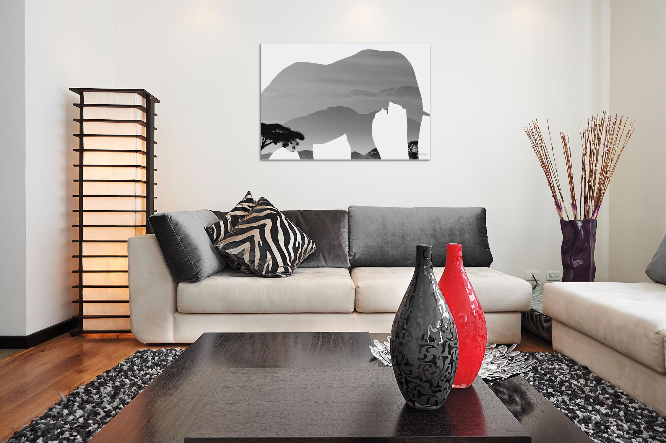 ELEPHANT SAVANNA - 32x22 in. Metal Animal Print - Lifestyle Image