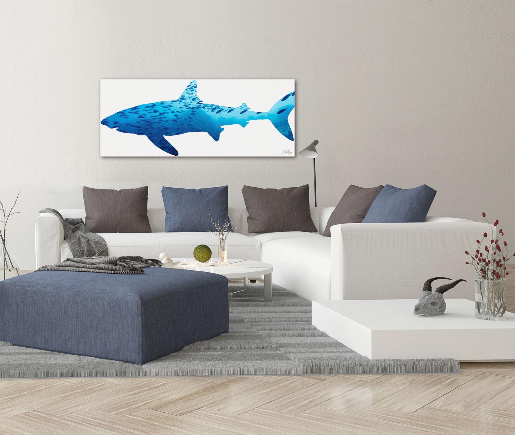 SHARK SEASCAPE - 48x19 in. Metal Animal Print - Lifestyle Image