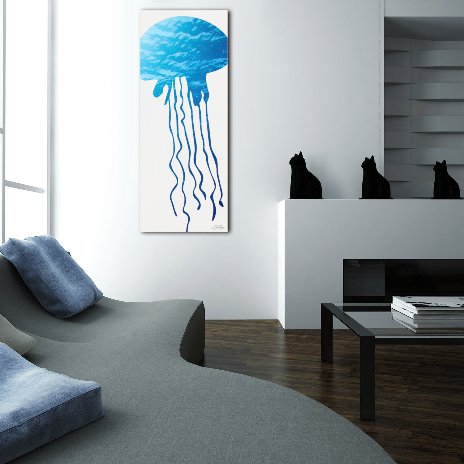 JELLYFISH SEASCAPE - 48x19 in. Metal Animal Print - Lifestyle Image