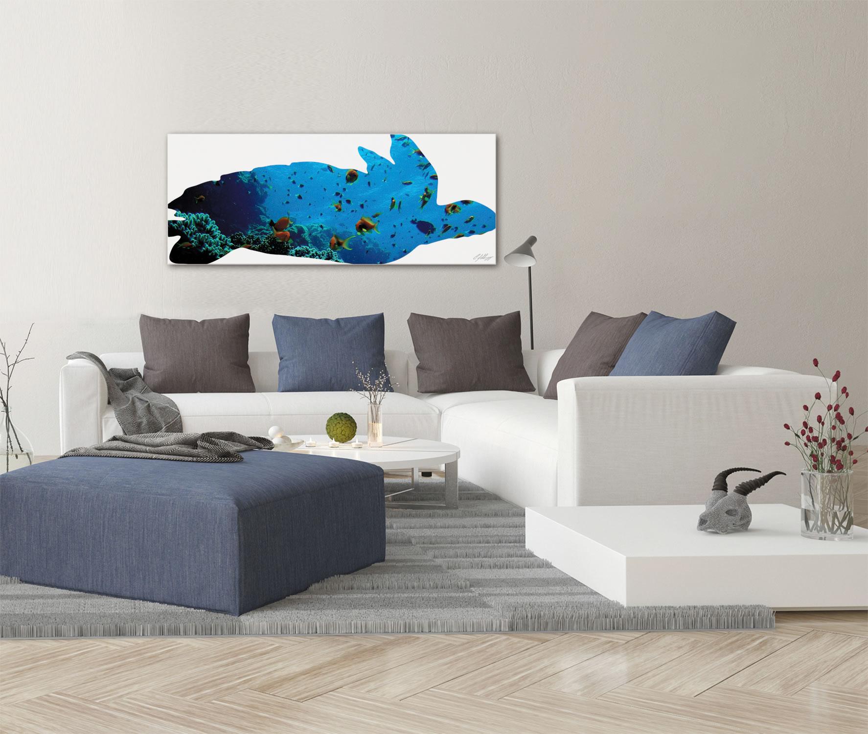 SEA TURTLE SEASCAPE - 48x19 in. Metal Animal Print - Lifestyle Image
