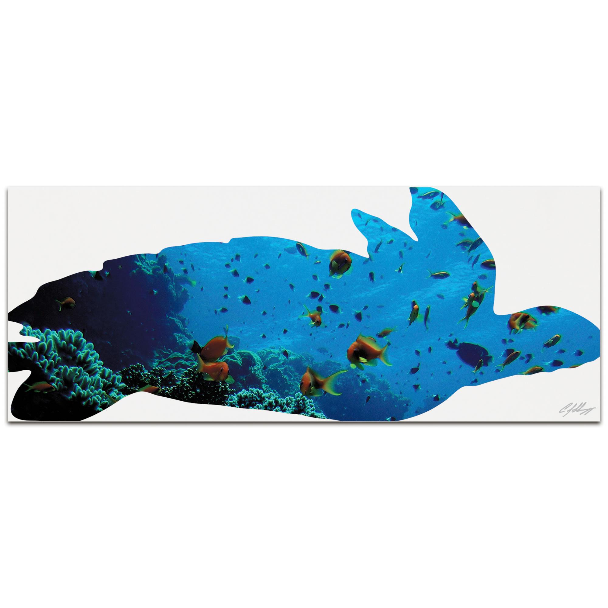 SEA TURTLE SEASCAPE - 48x19 in. Metal Animal Print