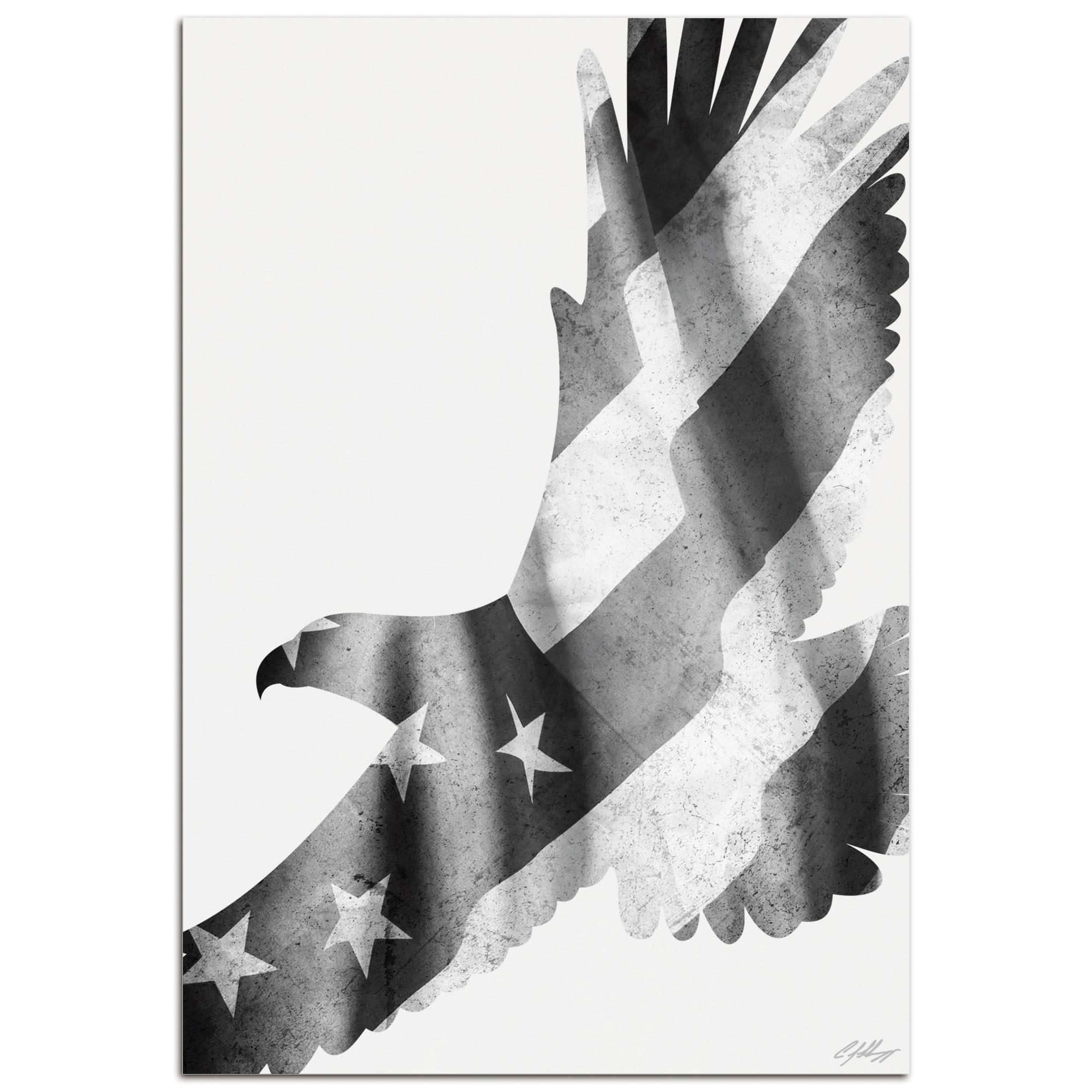FREEDOM EAGLE BLACK & WHITE - 32x22 in. Metal US Flag Print