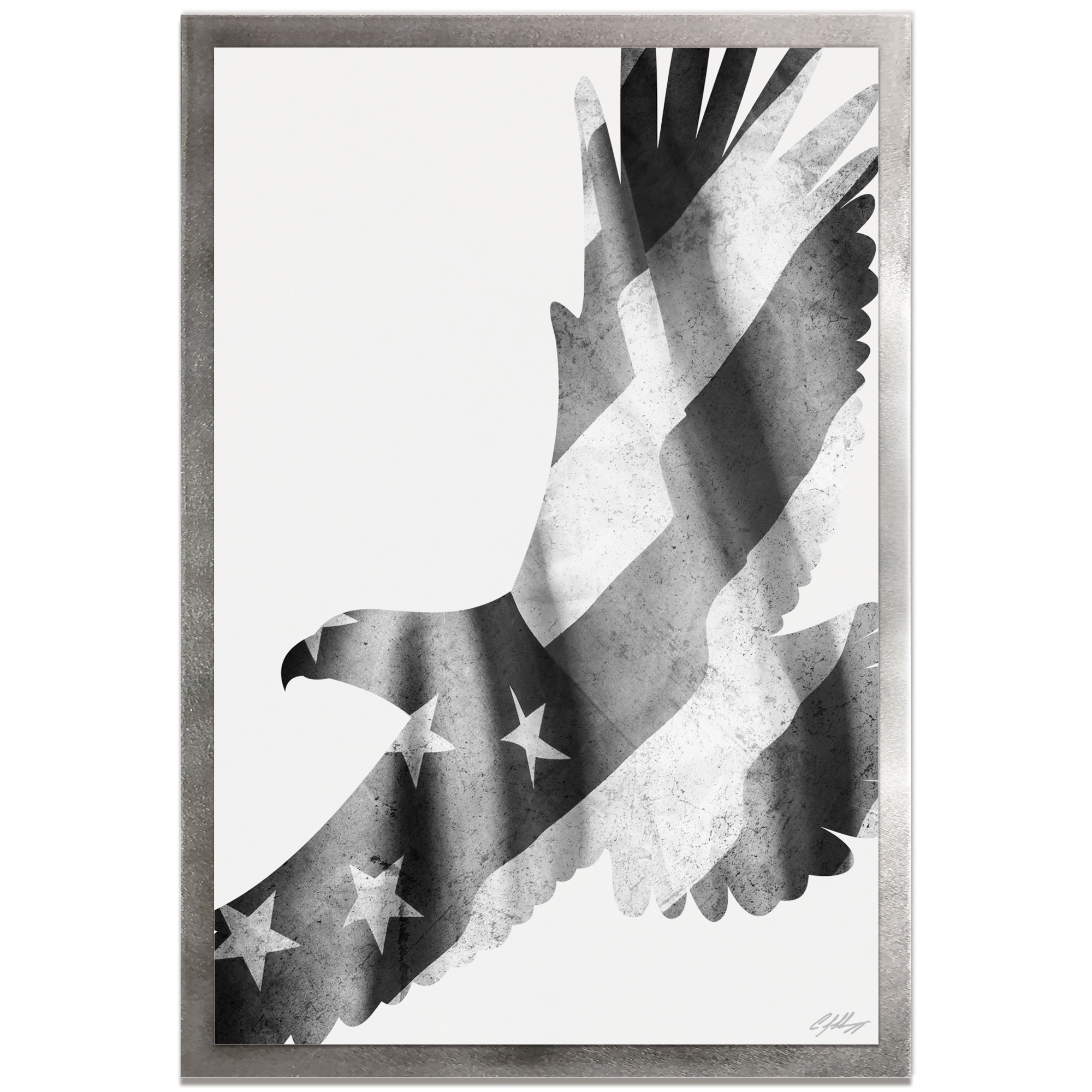 Adam Schwoeppe 'Freedom Eagle Black & White Framed' 22in x 32in Patriotic US Flag Art on Colored Metal