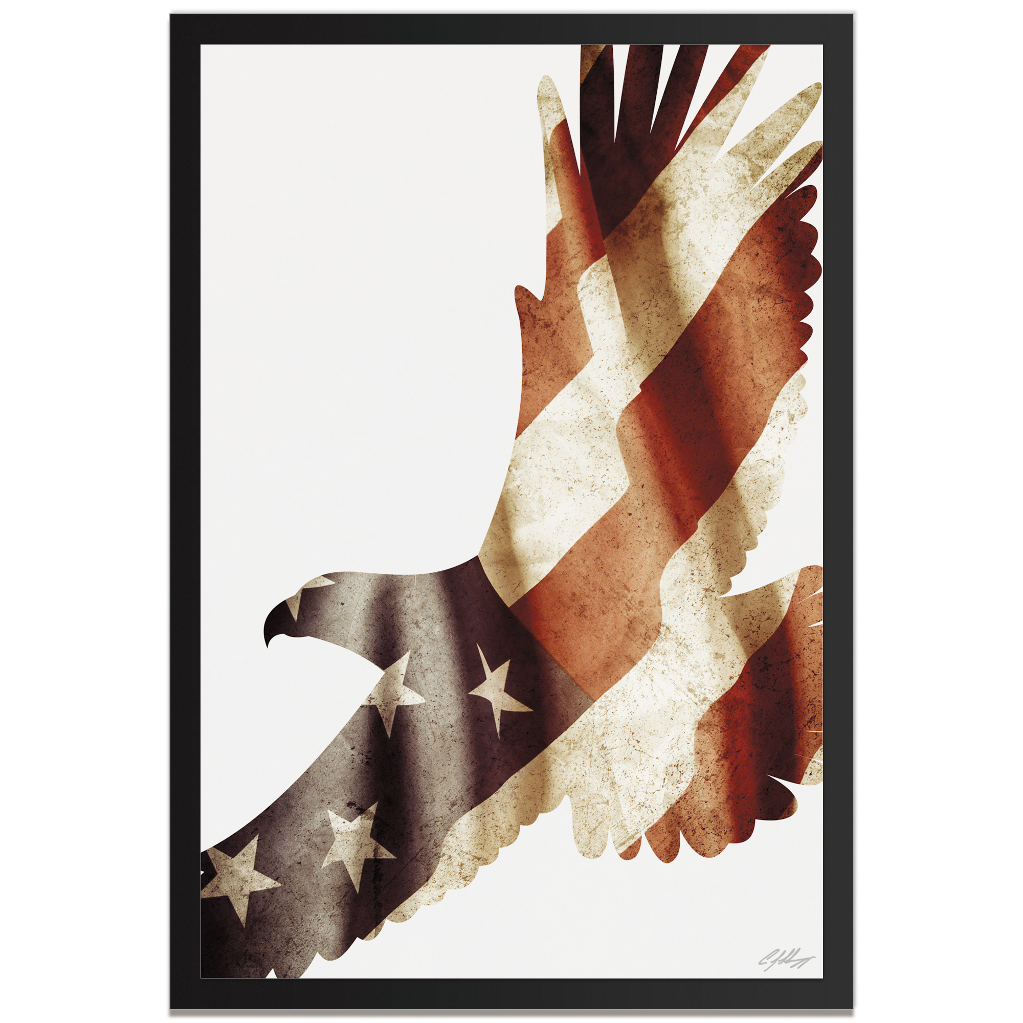 Adam Schwoeppe 'Freedom Eagle Framed' 22in x 32in Patriotic US Flag Art on Colored Metal