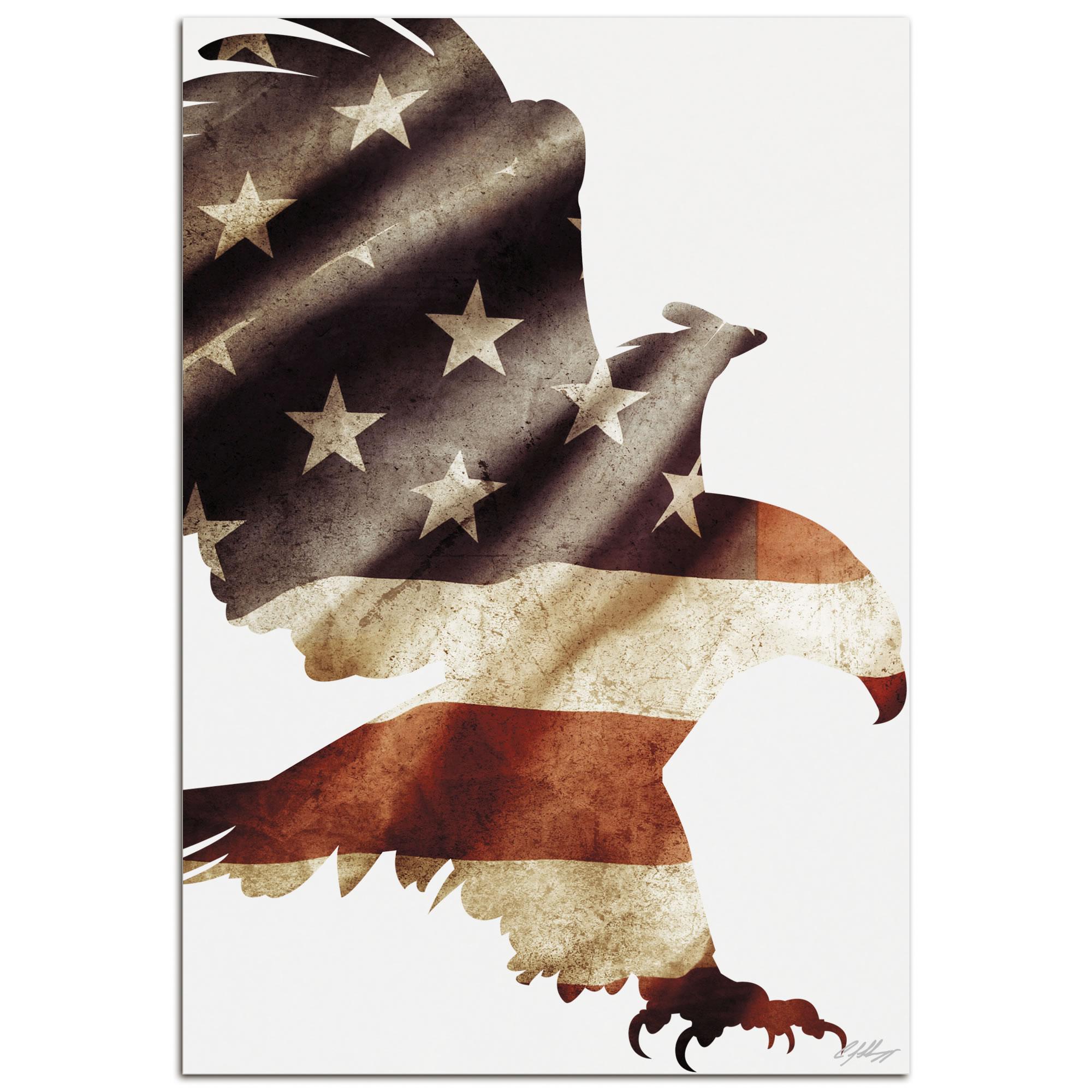 PATRIOT EAGLE - 32x22 in. Metal US Flag Print