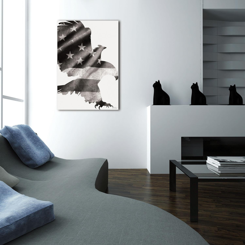 PATRIOT EAGLE BLACK & WHITE - 32x22 in. Metal US Flag Print - Lifestyle Image