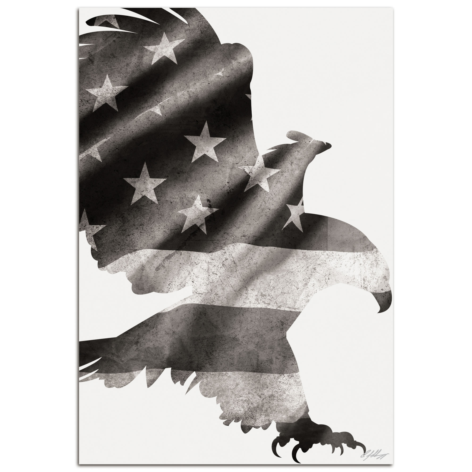 PATRIOT EAGLE BLACK & WHITE - 32x22 in. Metal US Flag Print