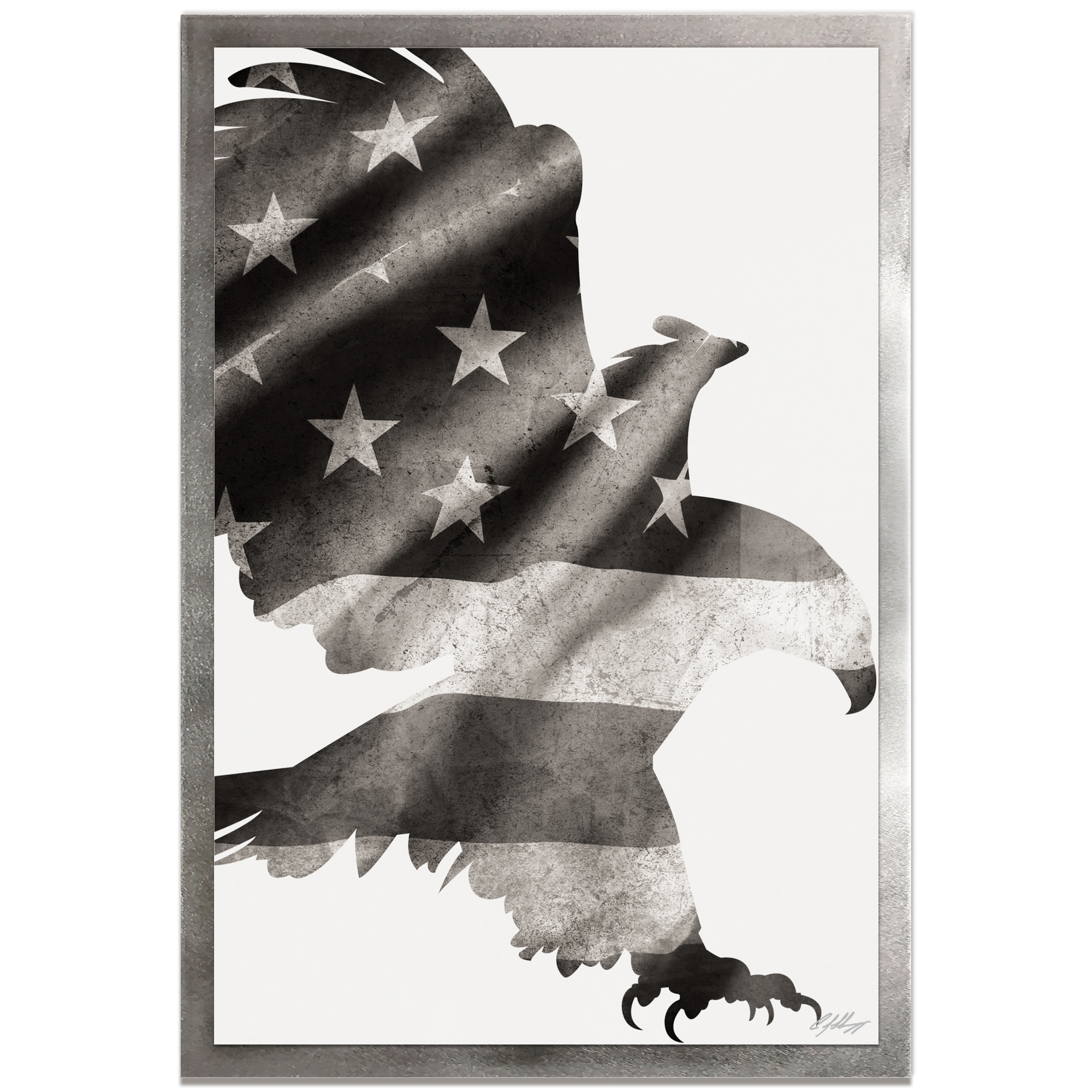 Adam Schwoeppe 'Patriot Eagle Black & White Framed' 22in x 32in Patriotic US Flag Art on Colored Metal