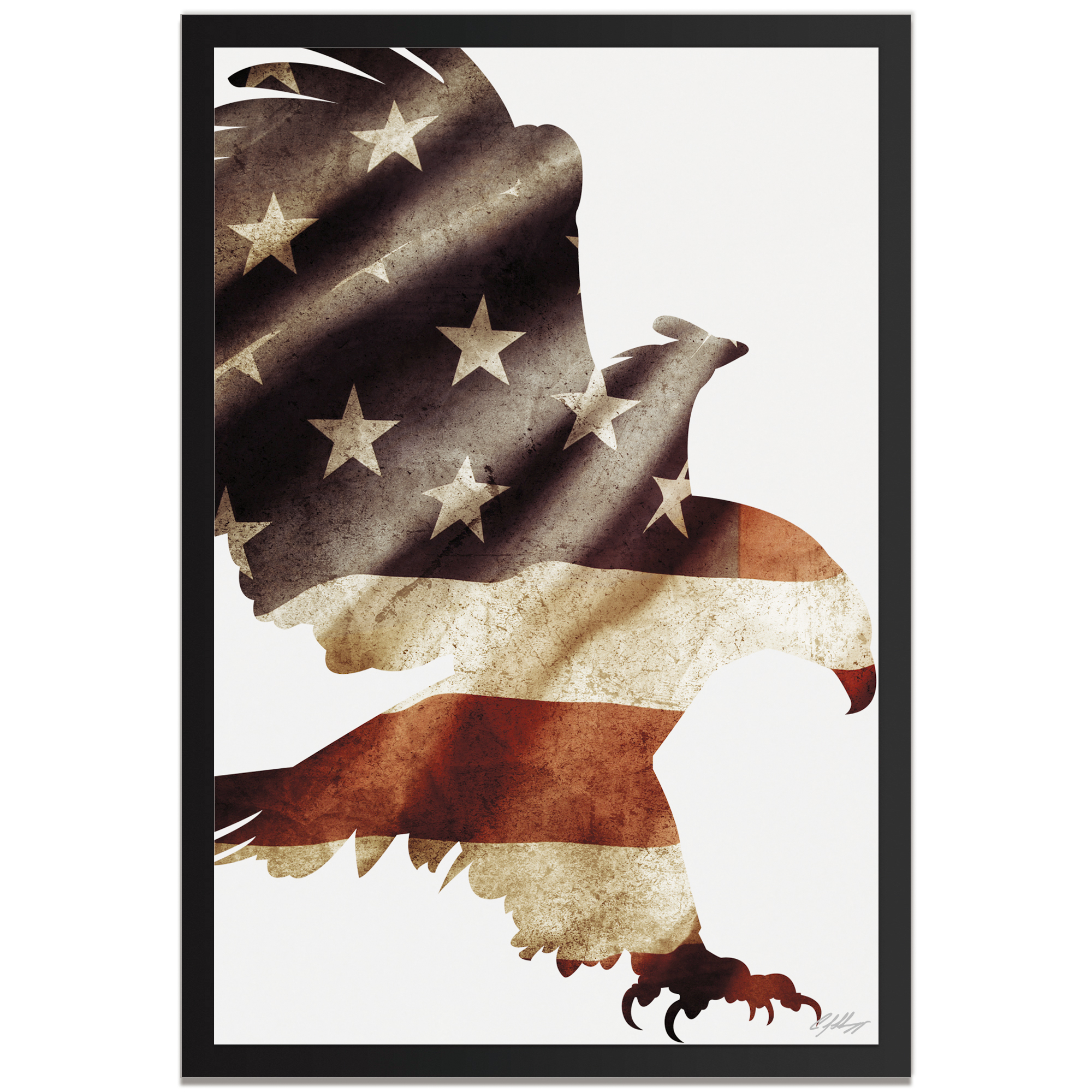 Adam Schwoeppe 'Patriot Eagle Framed' 22in x 32in Patriotic US Flag Art on Colored Metal