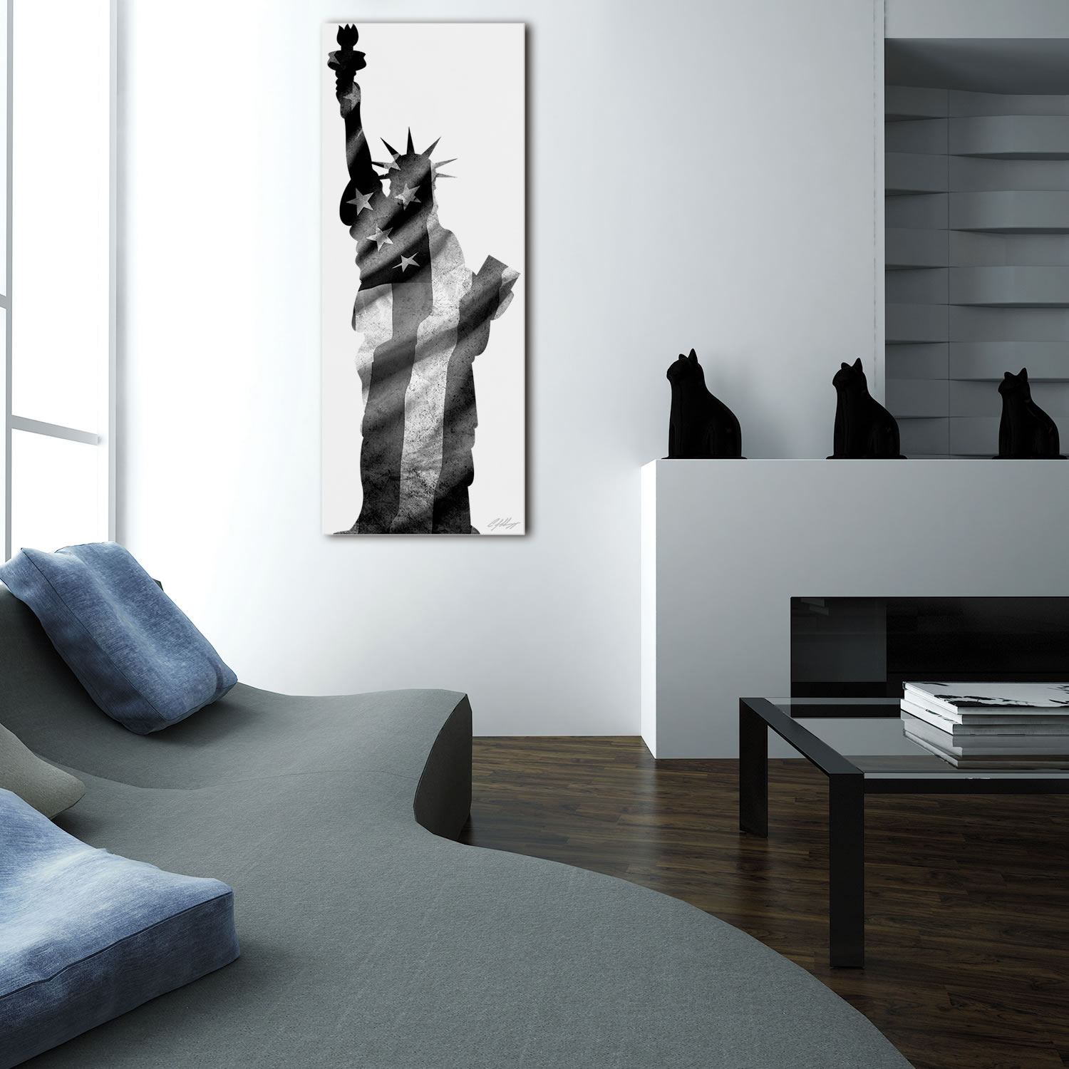 LADY LIBERTY BLACK & WHITE - 48x19 in. Metal Patriotic Print - Lifestyle Image