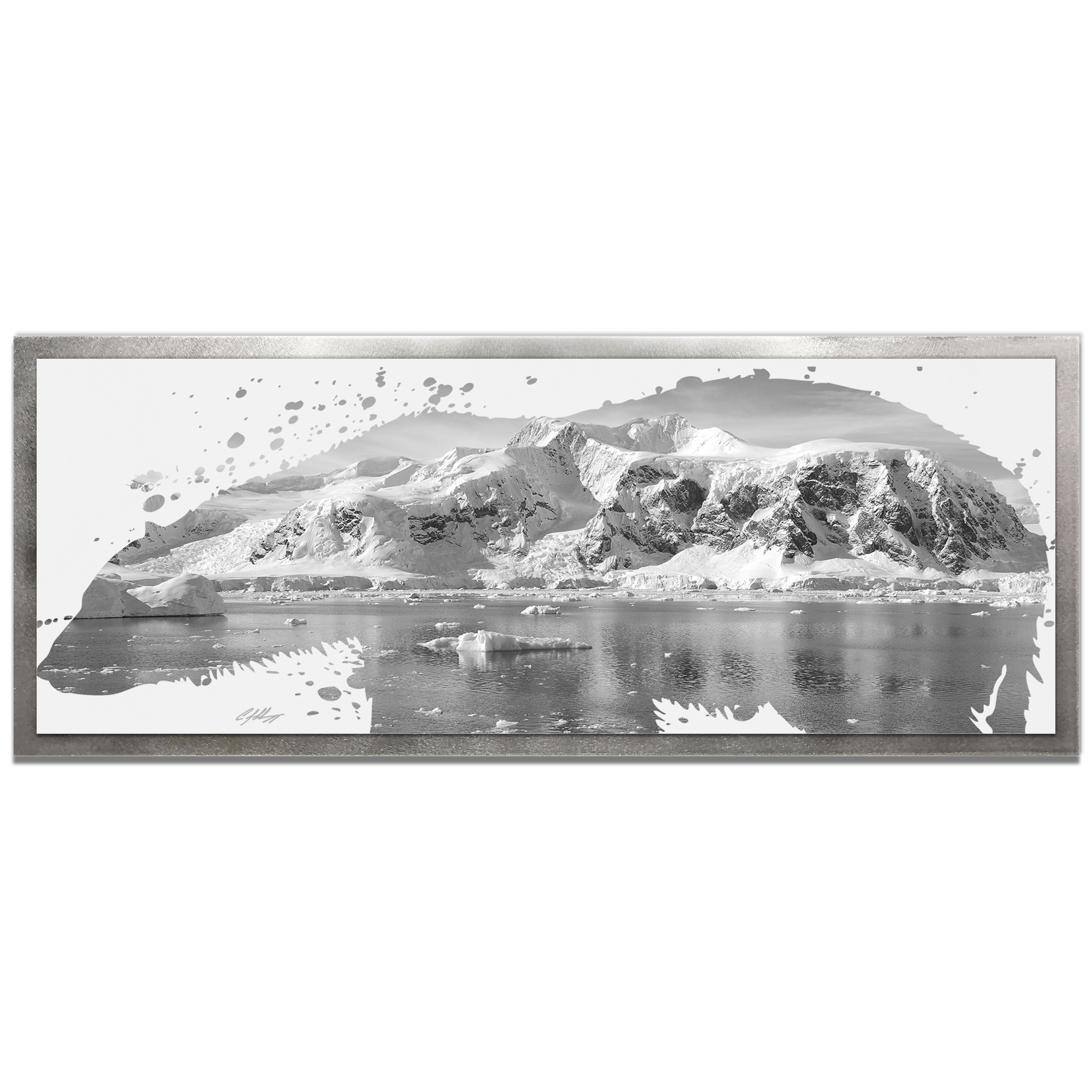 Adam Schwoeppe 'Polar Bear Arctic Gray Framed' 48in x 19in Contemporary Animal Silhouette Art on Colored Metal