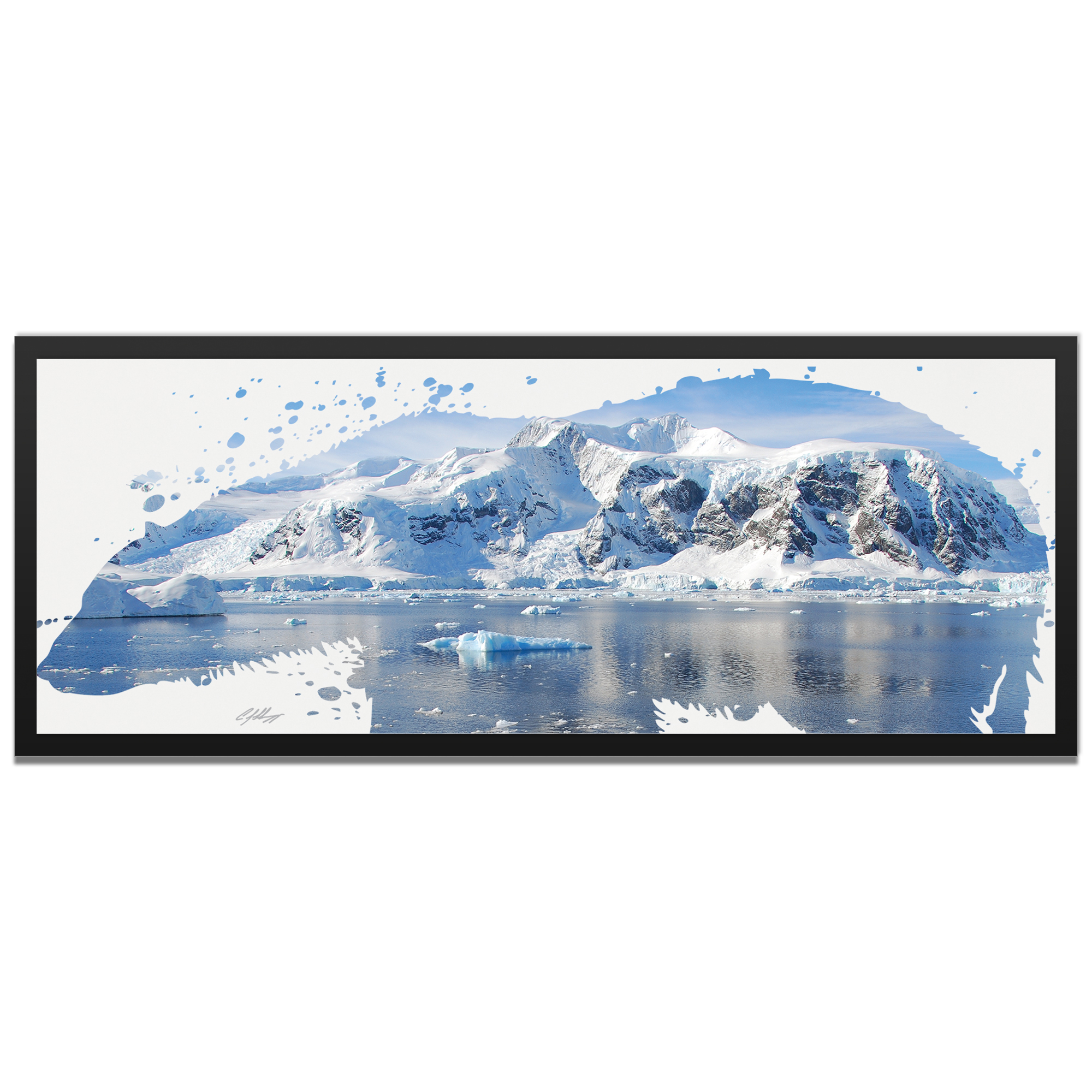 Adam Schwoeppe 'Polar Bear Arctic Framed' 48in x 19in Contemporary Animal Silhouette Art on Colored Metal