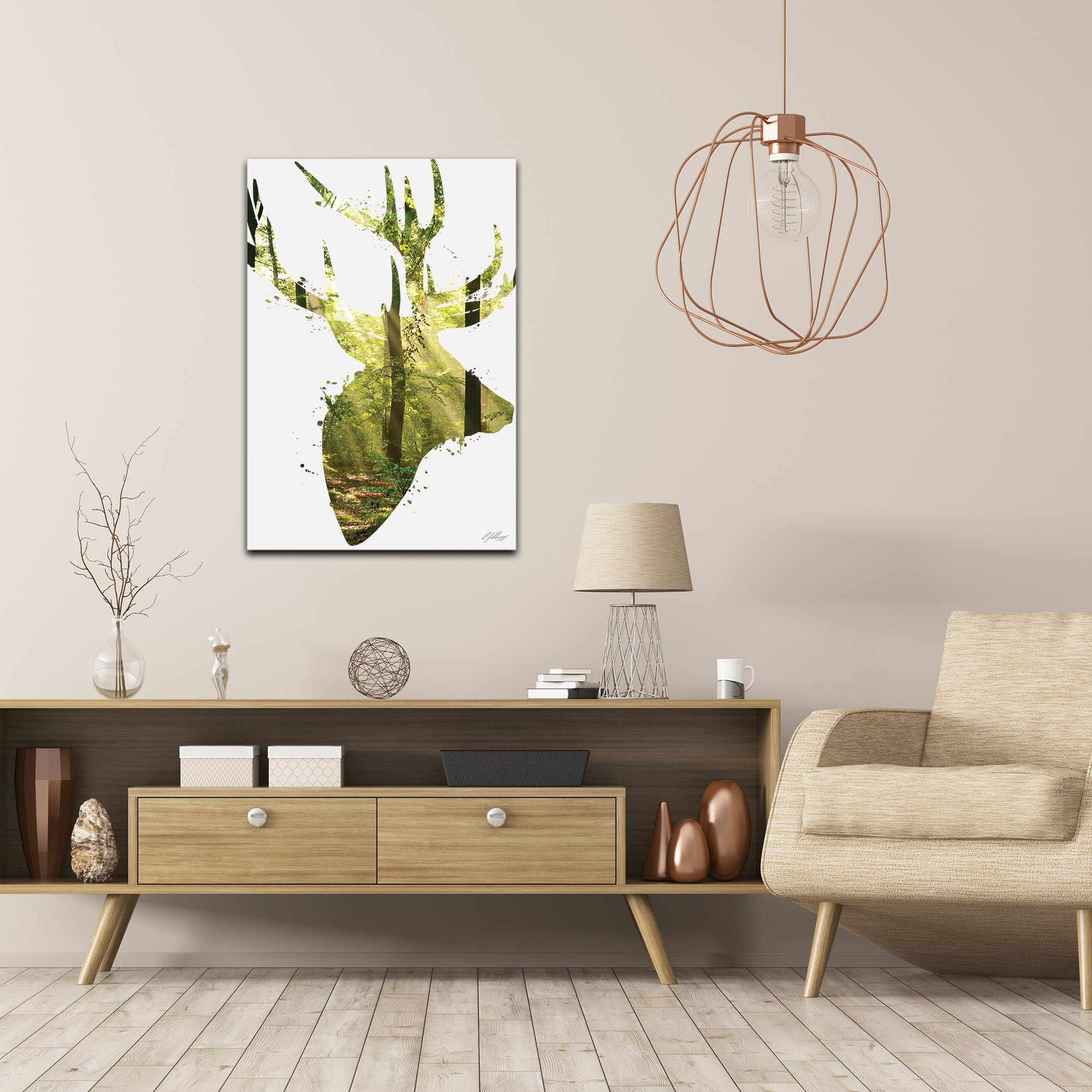 Forest Deer by Adam Schwoeppe Animal Silhouette on White Metal - Lifestyle View