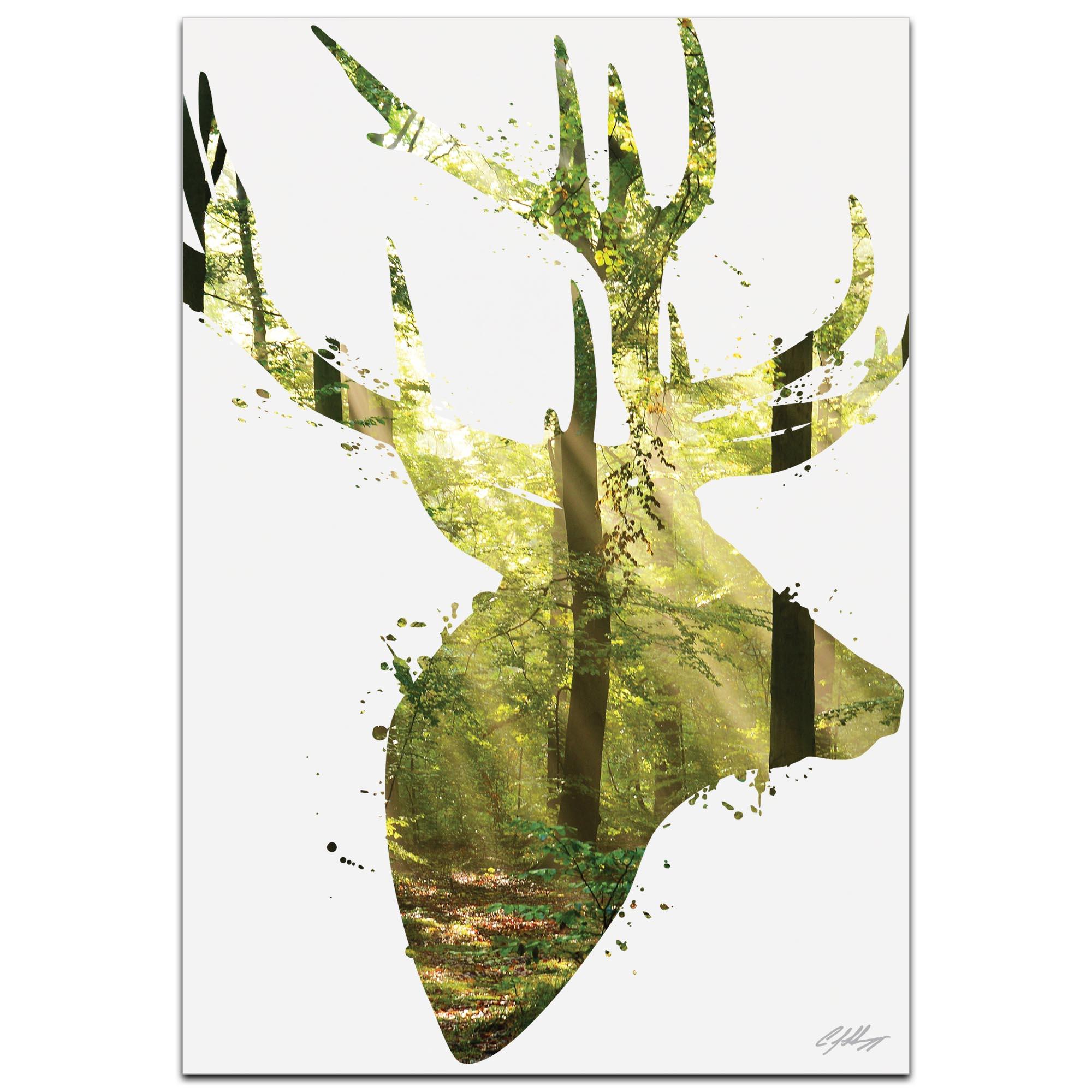 Forest Deer by Adam Schwoeppe Animal Silhouette on White Metal